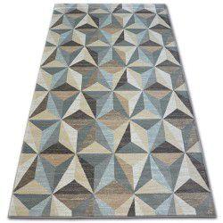 Килим ARGENT – W6096 триъгълници бежово/синьо