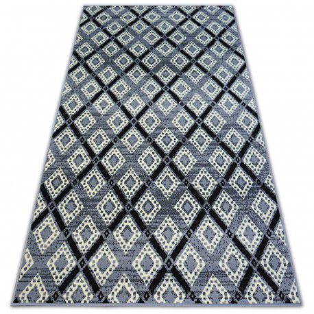 Matta BCF BASE DIAMONDS 3869 SQUARES grå/svart