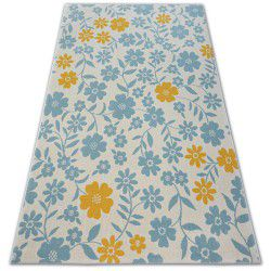 Tapete PASTEL 18414/062 - Flores Florzinhas creme turquesa dourado