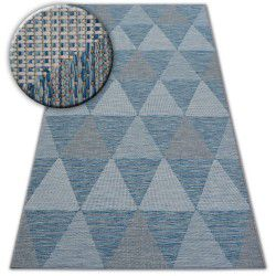 Alfombra de cuerda sisal LOFT 21132 Triángulos marfil/plateado/azul
