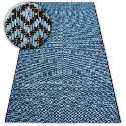 Alfombra de cuerda sisal LOFT 21144 Diamantes Zigzag azul/negro/plateado