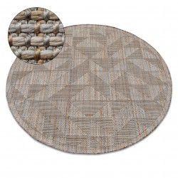 Alfombra de cuerda sisal NATURE SL160 círculo Franjas Boho beige
