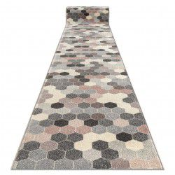 Alfombra de pasillo HEOS 78537 Hexágono gris/rosa/crema