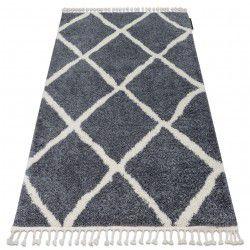 Carpet BERBER CROSS B5950 grey / white Fringe Berber Moroccan shaggy