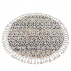 Kulatý koberec BERBER AGADIR GO522, krémovo-šedý - střapce, Maroko, Shaggy