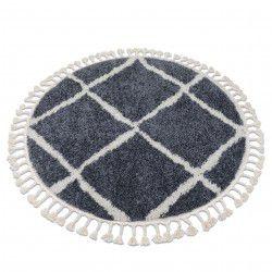 Kulatý koberec BERBER CROSS B5950, šedá-bílá - střapce, Maroko, Shaggy