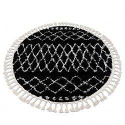 Covor Berber Ethnic G3802 cerc negru si alb Franjuri shaggy
