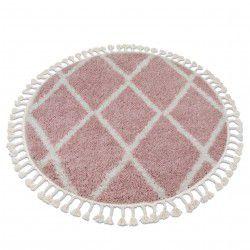 Szőnyeg BERBER TROIK A0010 kör rózsaszín / fehér Rojt shaggy