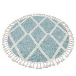 Szőnyeg BERBER TROIK A0010 kör kék / fehér Rojt shaggy