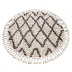 Kulatý koberec BERBER BENI krémový - střapce, Maroko, Shaggy