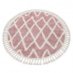 Kulatý koberec BERBER BENI Maroko, Shaggy, střapce, růžový