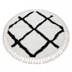 Covor Berber Cross cerc alb Franjuri shaggy