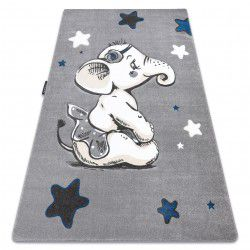 Kinderteppich PETIT ELEPHANT ELEFANT STERNE grau