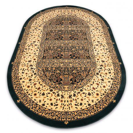 Alfombra de lana POLONIA oval Vidriero verde oscuro