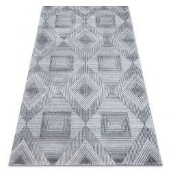 Teppich Strukturell SIERRA G5011 flach gewebt grau / schwarz - geometrisch, Diamanten