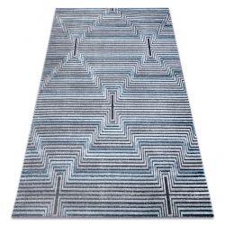 Dywan Strukturalny SIERRA G5018 Płasko tkany, dwa poziomy runa niebieski - paski, romby