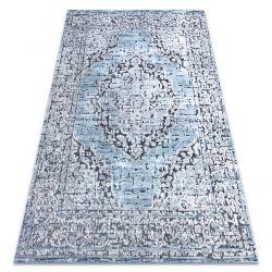 Dywan Strukturalny SIERRA G8076 Płasko tkany, dwa poziomy runa niebieski / szary - rozeta