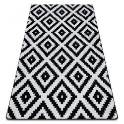 Covor Sketch - F998 alb și negru - Pătrate Ruta