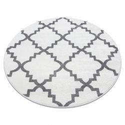 Tapete SKETCH redondo - F343 branco/cinzento trevo marroquino trellis