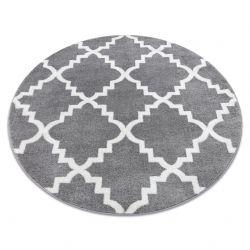 Tapete SKETCH redondo - F343 cinzento/branco trevo marroquino trellis