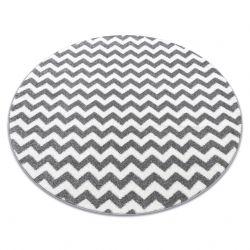 Kulatý koberec SKETCH - F561 Cik cak, šedo bílá