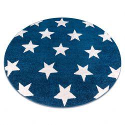 Tapete SKETCH redondo - FA68 azul/branco - Estrelas Estrelinhas