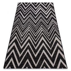 Fonott sizal floorlux szőnyeg 20308 Cikcakk fekete / ezüst / bézs
