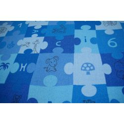 Dywan dziecięcy PUZZLE niebieski