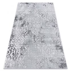 Modern MEFE Teppich 8724 Ornament vintage - Strukturell zwei Ebenen aus Vlies grau