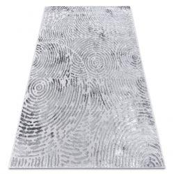 Modern MEFE Teppich 8725 Kreise Fingerabdruck - Strukturell zwei Ebenen aus Vlies grau