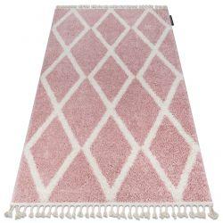 Covor Berber Troik A0010 roz si alb Franjuri shaggy