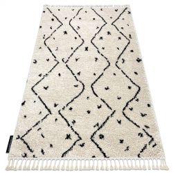 Koberec TETUAN B751, krémový - střapce, vzor cik cak, Maroko, Shaggy