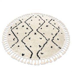Teppich BERBER TETUAN B751 Kreis Zickzack sahne Franse berber marokkanisch shaggy