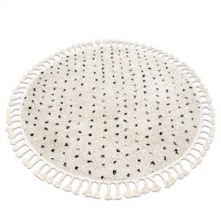 Carpet BERBER SYLA B752 circle dots cream Fringe Berber Moroccan shaggy