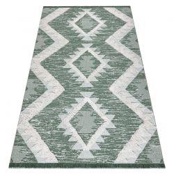 Ekologický koberec MOROC EKO SISAL 22312 Diamanty, střapce, dvě vrstvy rouna, zelená, krémová, recyklovatelná bavlna