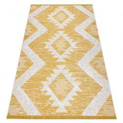 Fonott Sizal szőnyeg boho MOROC gyémánt 22312 rojt - két szintű gyapjú sárga / krém, újrahasznosított szőnyeg