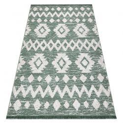 Fonott Sizal EKO szőnyeg boho MOROC Etno Cikcakk 22319 rojt - két szintű gyapjú zöld / krém, újrahasznosított szőnyeg