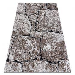 Modern Teppich COZY 8985 Brick Pflasterung Backstein, Stein - Strukturell zwei Ebenen aus Vlies braun