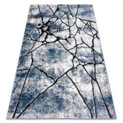 Modern Teppich COZY 8873 Cracks, gerissener Beton- Strukturell zwei Ebenen aus Vlies blau