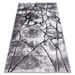 Modern Teppich COZY 8873 Cracks, gerissener Beton- Strukturell zwei Ebenen aus Vlies dunkelgrau