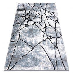 Modern Teppich COZY 8873 Cracks, gerissener Beton- Strukturell zwei Ebenen aus Vlies hellgrau / blau