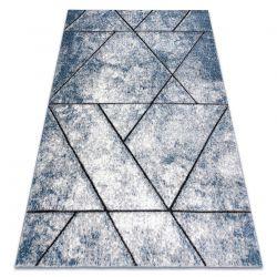 Modern Teppich COZY 8872 Wall, Geometrisch, Dreiecke - Strukturell zwei Ebenen aus Vlies blau