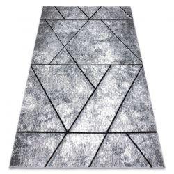Modern Teppich COZY 8872 Wall, Geometrisch, Dreiecke - Strukturell zwei Ebenen aus Vlies grau / blau