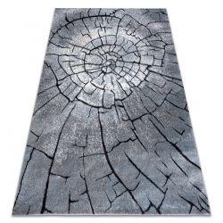 Modern COZY szőnyeg 8875 Wood, fatörzs - Structural két szintű gyapjú szürke / kék