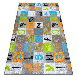 Teppichboden für Kinder JUMPY Patchwork, Briefe, Zahlen grau / orange / blau