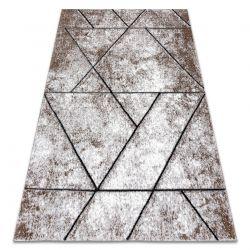 Modern Teppich COZY 8872 Wall, Geometrisch, Dreiecke - Strukturell zwei Ebenen aus Vlies braun