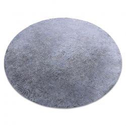 Modern mosószőnyeg LAPIN kör shaggy, csúszásgátló fekete / elefántcsont