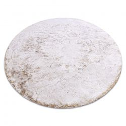 Tapete de lavagem moderno LAPIN círculo shaggy, antiderrapante bege / marfim