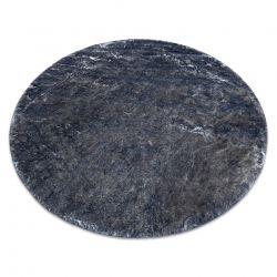 Moderner Waschteppich LAPIN Kreis Shaggy, Antirutsch elfenbein / schwarz