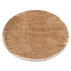 Moderner Waschteppich LAPIN Kreis Shaggy, Antirutsch elfenbein / braun